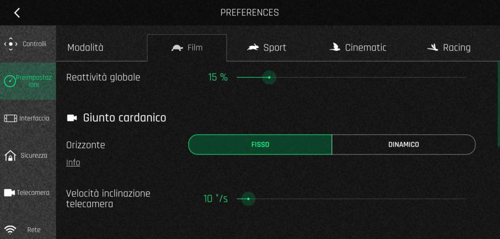Modalità Film, Sport, Cinematic, Racing - Il Dronista
